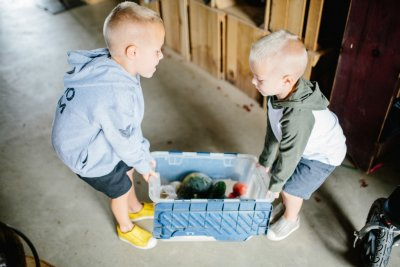 2 boys struggle to carry their CSA produce Box from Great Country Farms.