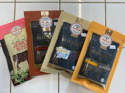 Beef Jerky bags on display in the farm market at Great Country Farms