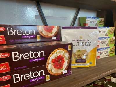 variety of crackers on the shelf in the Farm Market at Great Country Farms