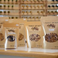 Family of Nuts bags on display in the Farm Market at Great Country Farms